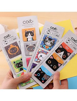 Katoot@ 24 Pcs/Lot Kawaii Cartoon Cat Magnetic Bookmark Cute Animal Bookmarks For Books Statioery Office School Supplies by Katoot