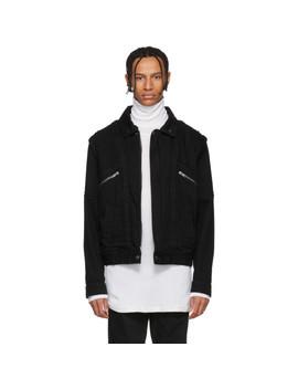 Black Denim & Shearling Biker Jacket by Givenchy