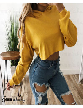 Fashion Women's Hoodie Sweatshirt Jumper Sweater Crop Tops Coat Sports Pullover by Emmababy