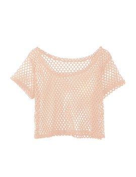 Women's Mesh Fishnet Short Sleeve See Through Crop Tops T Shirt Casual Blouse Us by Unbranded