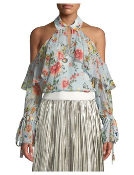 Blayne Cold Shoulder Floral Print Silk Blouse by Alice + Olivia