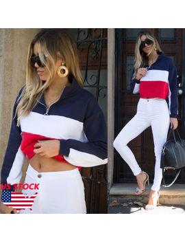 Women Hoodie Sweatshirt Crop Top Jumper Sweater Coat Sports Pullover Tops Shirts by Itfabs