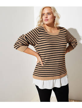 Loft Plus Striped Split Back Mixed Media Sweater by Loft