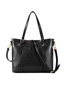 Kattee Vintage Cowhide Leather Tote Crossbody Shoulder Bag For Women by Kattee