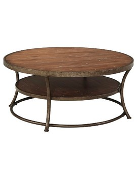Nartina Round Cocktail Table Light Brown   Signature Design By Ashley by Shop This Collection