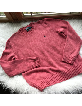 Polo Ralph Lauren Coral Pink Crewneck Sweater L by Polo By Ralph Lauren