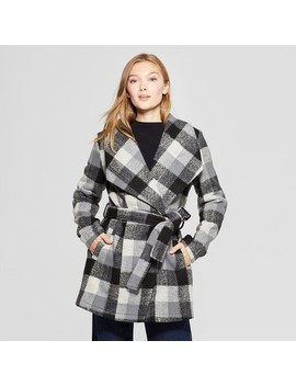 Women's Plaid Wrap Coat   A New Day™ Black by A New Day™
