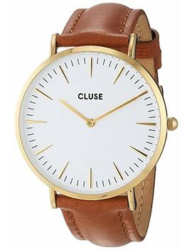 Cluse Women's La Boheme 38mm Brown Leather Band Metal Case Quartz White Dial Analog Watch Cl18409 by Cluse