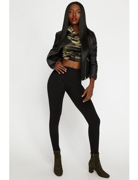 Black Super Slim High Rise Waist Shaper Legging by Urban Planet