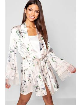 Floral Print Lace & Satin Gown by Boohoo