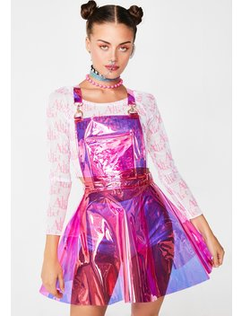 Candy Gurl Hologram Overall Dress by Club Exx