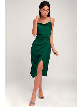 Hollywood Woman Forest Green Satin Midi Dress by Lulus