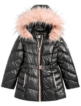 Little Girls Hooded Belted Stadium Jacket With Faux Fur Trim by Michael Michael Kors