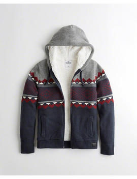 Sherpa Lined Full Zip Hooded Sweater by Hollister