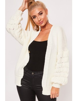 Lola Cream Bubble Arm Knitted Cardigan by Misspap