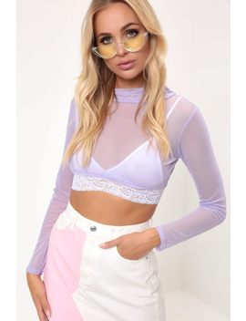 Lilac High Neck Mesh Crop by I Saw It First