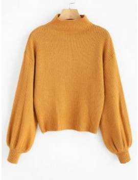 Lantern Sleeve Mock Neck Plain Sweater   Orange Gold by Zaful