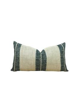 Clay Studios Stripe Pillow Cover   Indigo Stripes On Natural Belgian Linen   Band Indigo   Artisan Textile   1 Or 2 Sided by Etsy