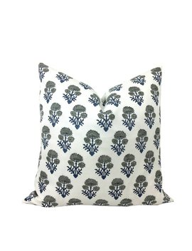 Blue, White, & Grey Floral Pillow Cover   Block Print   Artisan   1 Or 2 Sided    Bastideaux   High End   Blue / Grey Flowers On White by Etsy
