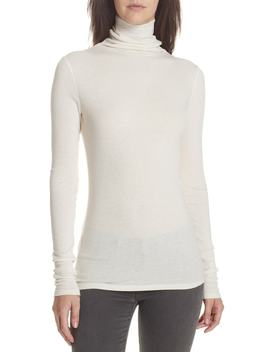 Ribbed Cotton & Cashmere Turtleneck Top by Theory