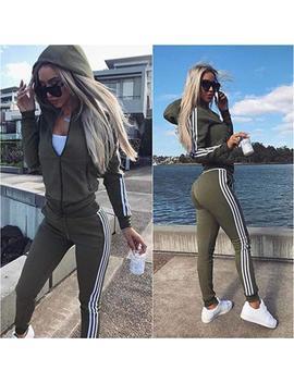 Women 2 Pcs Autumn Tracksuit V Neck Zip Sweatshirt Pants Yoga Sports Casual Suit by Unbranded