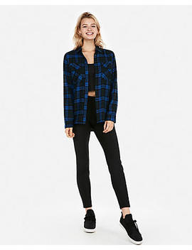 Blue Flannel Flap Pocket Boyfriend Shirt by Express