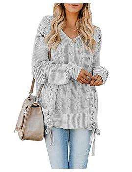 Womens Sweaters Oversized Cable Knit V Neck Long Sleeve Chunky Pullover Sweater Tunic Tops by Yonywa
