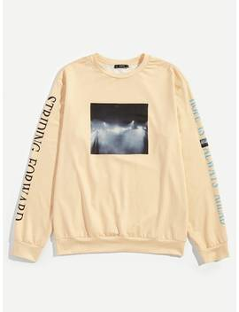 Men Letter And Figure Print Pullover by Shein