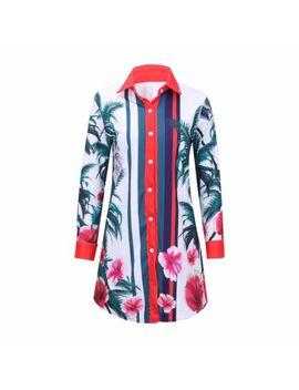 Fashion Floral Print Button Down Asymmetric Hem Shirtdress Casual Dress Shirt by Ohyin