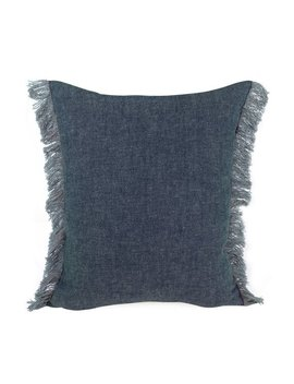 Bohemian Artisan Denim Blue Throw Pillow Cover For Boho Chic Decor + Many Sizes Available, Hand Frayed Fringe by Etsy