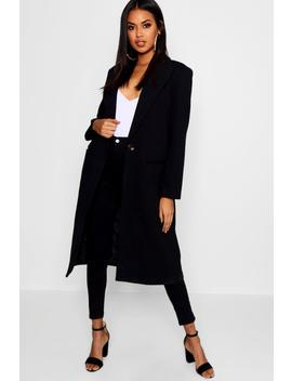 tailored-twill-coat by boohoo