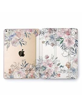 Wonder Wild I Pad Case 2018 2017 9.7 Inch Watercolor Peony Mini 1 2 3 4 Air 2 6th 5th Generation Pro 10.5 12.9 Tablet Cover Flowers Plant Petal Print Cute Florally Design Pattern Pretty Rose Gold Case by Wonder Wild