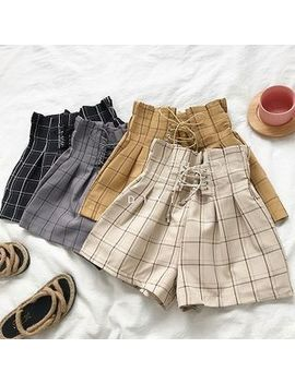 Diyi   Plaid High Waist Lace Up Shorts by Diyi
