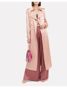 Rosewater Satin Trench Coat by Fleur Du Mal