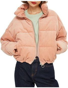 Cord Puffer Jacket by Topshop