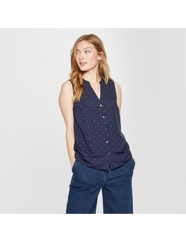 Women's Polka Dot Sleeveless Button Front Blouse   A New Day™ Navy by A New Day™