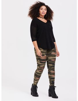 Fishnet Slashed Camo Knit Legging by Torrid
