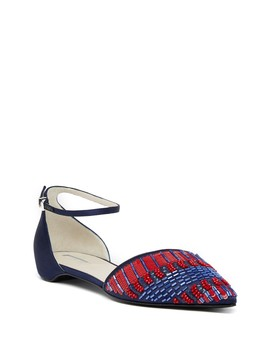 Beaded Ankle Strap Flat by Giorgio Armani
