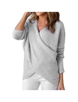 Fashion Women Winter Casual Jumper Front Cross V Neck Long Sleeve Pullover Tops Knitted Sweater by Sexydance