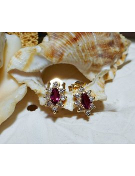 14k Ruby And Diamond Stud Earrings Yellow Gold .75ctw 1.52g by Etsy