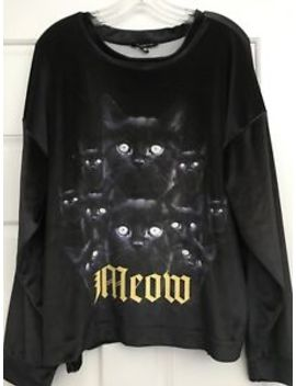 "Rare Wildfox ""Black Cat 🐈 Meow"" Long Sleeve Crew Sweater Pullover Halloween 🎃 by Wildfox"
