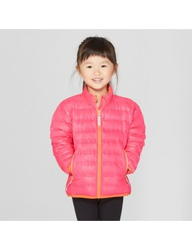 Toddler Girls' Down Puffer Jacket   Cat & Jack™ Pink by Cat & Jack™