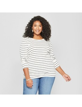 Women's Plus Size Striped Crew Neck Long Sleeve T Shirt   Ava & Viv™ Black/White by Ava & Viv™