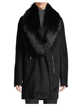 Removable Faux Fur Collar Wool Coat by Iconic American Designer