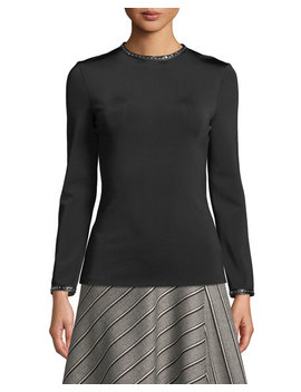 Studded High Neck Long Sleeve Top W/ Leather Trim by Helmut Lang