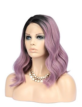 E Nilecor Purple Wigs, Short Bob Lace Front Wig Full Synthetic Realistic Colorful Dark Root To Ombre Ash Purple Wavy Hair Replacement Wigs For Women by E Nilecor