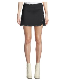 Studded Side Split Mini Skirt by Helmut Lang