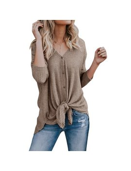 Long Sleeve Women Front Knot Blouse Solid Color Casual Button Tops by Sy Sea
