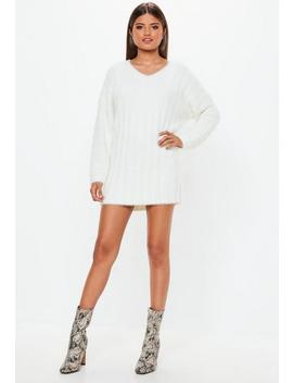 White Fluffy Ribbed Knitted Sweater Dress by Missguided
