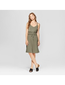 Women's Sleeveless Smocked Lace Up Waist Dress   Spenser Jeremy   Green by Spenser Jeremy